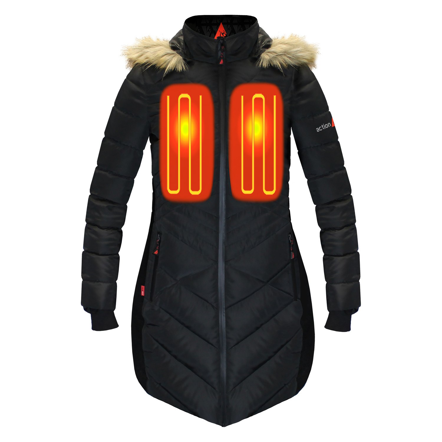 Womens Heated Clothing >> Actionheat Ah Lpjkt 5v W B S 5v Women S Heated Long Puffer Jacket With Hood Small Black