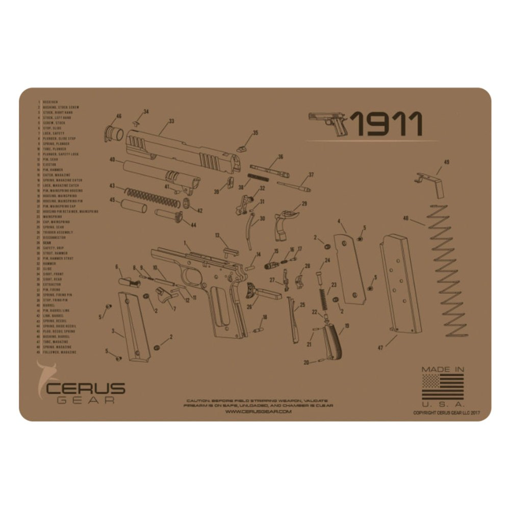 Cerus Gear® - 1911 Schematic Handgun ProMat on