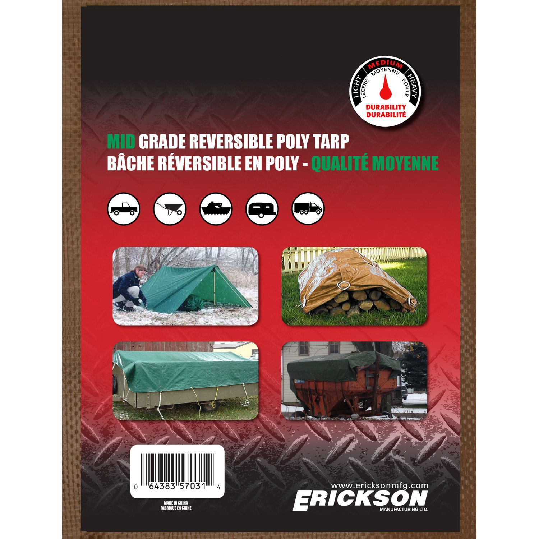 Erickson 57036 Reversible Brown//Green Mid-Grade Poly Tarp 18 x 24 18/' x 24/'