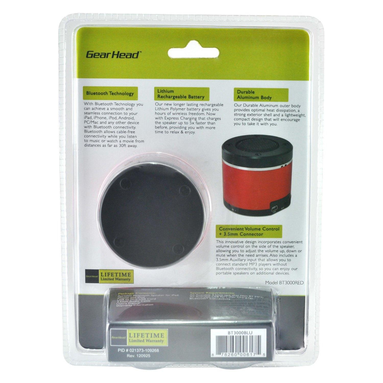 Gear Head® BT3000RED - Red Portable Bluetooth Speaker