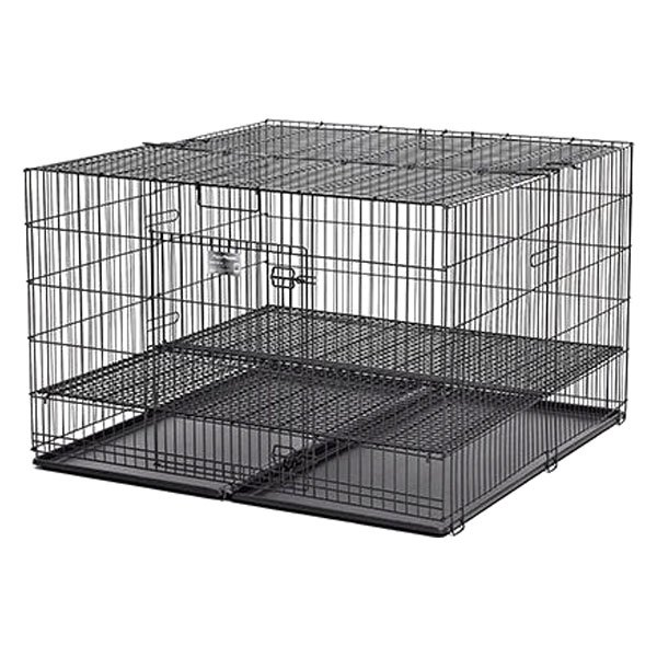 Midwest Pet 248 05 Black Puppy Playpen With Plastic Pan And 1 2 Floor Grid