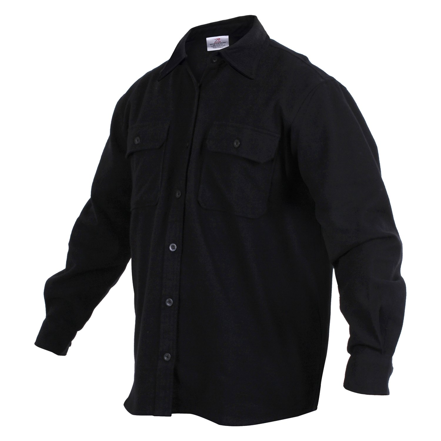 c6338b614e9 Rothco® 4637-Black-L - Heavy Weight Solid Flannel Shirt ...
