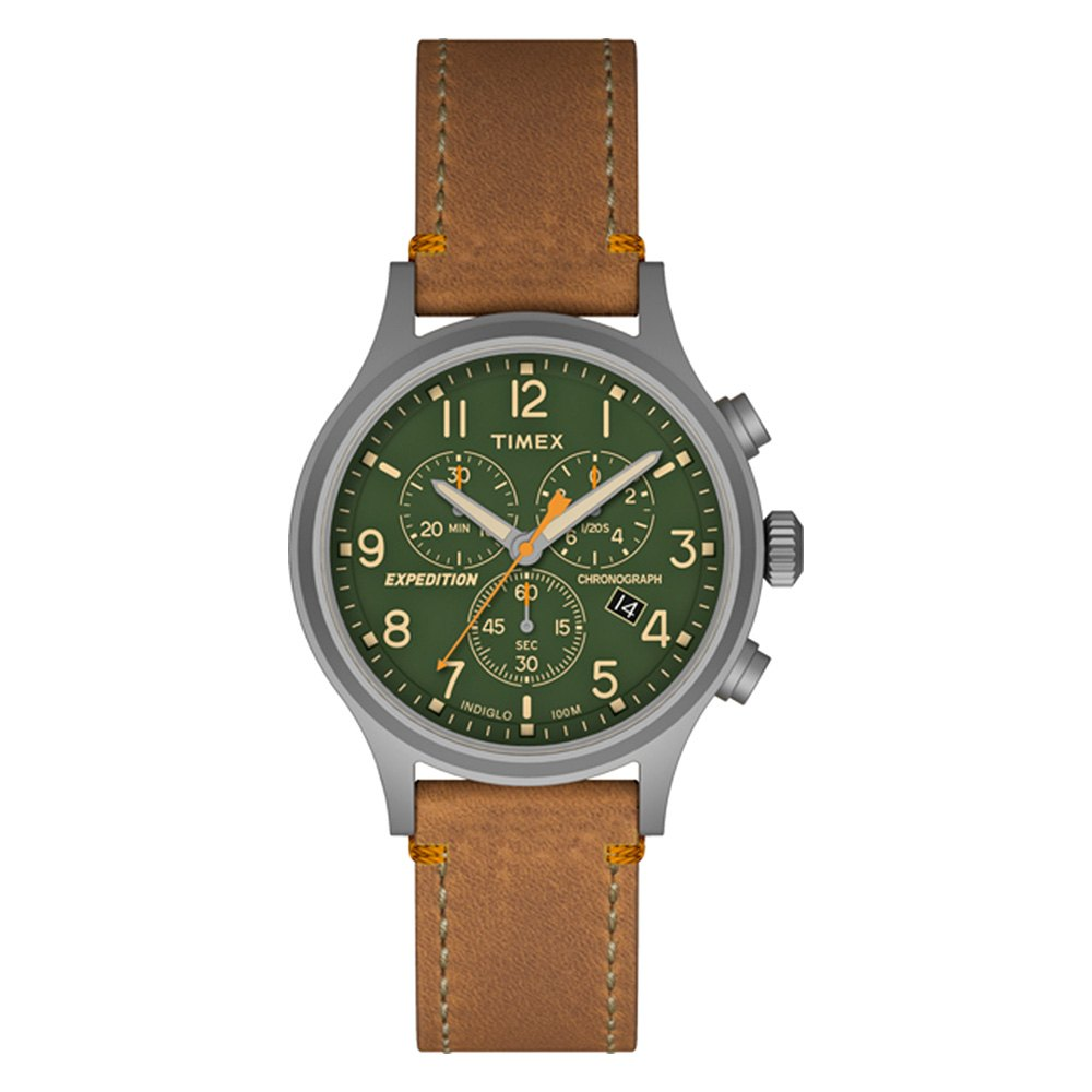 Timex® - Expedition™ Scout Chronograph Leather Strap Watch ...